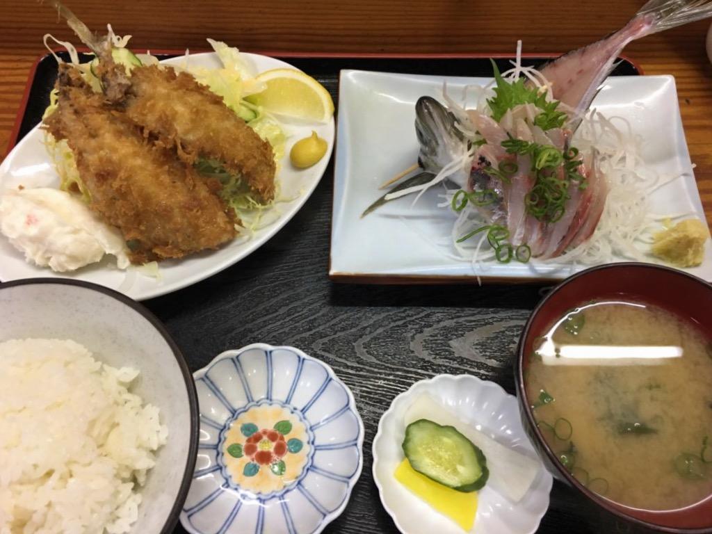 Fried Horse Mackerel and Horse Mackerel Sashimi Set Meal